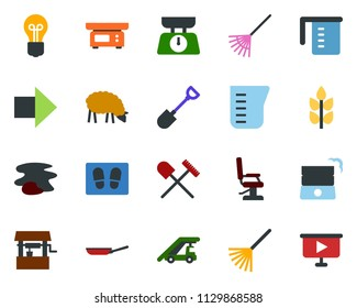 colored vector icon set - spike vector, shovel and rake, sheep, right arrow, ladder car, hairdresser chair, splotch, welcome mat, garden fork, well, bulb, presentation board