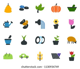 colored vector icon set - spike vector, field, leaf, seeds, mortar, sheep, hay, pumpkin, onion, plant label, flower in pot, seedling, watering can, eco car, tulip