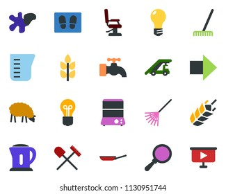 colored vector icon set - spike vector, shovel and rake, sheep, right arrow, ladder car, hairdresser chair, water tap, splotch, welcome mat, garden fork, well, bulb, presentation board