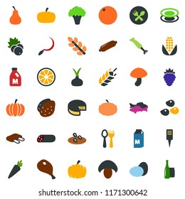 colored vector icon set - spike vector, seeds, milk, eggs, ham, ribs, fish, mushroom, sausage, berry, pumpkin, potato, onion, carrot, orange, pear, corn, cheese, broccoli, spoon and fork, sickle