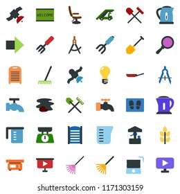 colored vector icon set - spike vector, shovel and rake, right arrow, ladder car, hairdresser chair, water tap, splotch, welcome mat, washboard, garden fork, well, bulb, draw, satellite