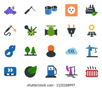 colored vector icon set - sun panel vector, oil jack, leaf, gas station, pipeline, power plug, socket, forest, eco factory, conveyor, workman, bird, tower crane, unmanned car, co2, pipes, laser