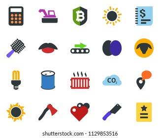 colored vector icon set - sun vector, sheep, plum, harvester, comb, mustache, bitcoin shield, boot, axe, conveyor, bulb, co2, radiator, mobile tracking, oil barrel, annual report, calculator, heart