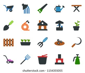 colored vector icon set - trowel vector, garden fork, farm, fence, seedling, watering can, wheelbarrow, bucket, saw, lawn mower, house, well, hose, sickle, fireplace, seeds, picnic table, sprayer