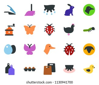 colored vector icon set - udder vector, sheep, chicken, rabbit, duck, scoop, butterfly, lady bug, caterpillar, bird