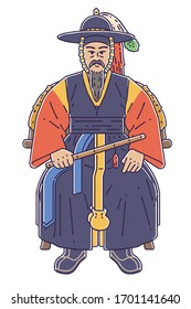 Colored vector illustration of admiral Yi Sun-shin. He was a Korean naval commander famed for his victories against the Japanese navy during the Imjin war in the Joseon Dynasty.