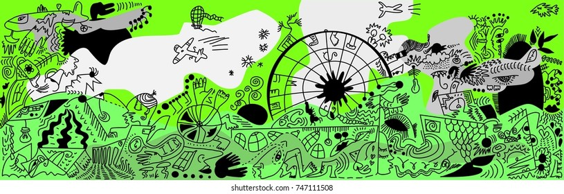 The colored vector illustration with a lot of fantastic sketched figures and events on the green background