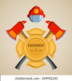 Colored vector illustration, icon. Firefighter Emblem or volunteer. Maltese cross, shield, ax, fireman helmet. Element for the magnet on the fridge or print for shirts. Red, yellow, brown.