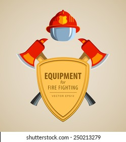 Colored vector vector illustration, icon. Firefighter Emblem or volunteer. Shield, ax, fireman helmet. Element for the magnet on the fridge or print for a T-shirt. Red, yellow, brown.