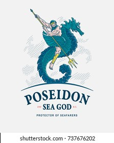 Colored vector illustration of Poseidon riding a seahorse