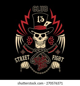 "Colored vector illustration street fighting club emblem with cylinder hat, skull, brass knuckles, razors, stars and inscription. ""Street fighting club 13. Kick your ass."""