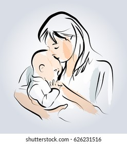 Colored vector line sketch of a mother with a child