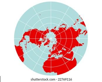A colored vector map of the northern hemisphere with a map grid that uses a polar stereographic projection.