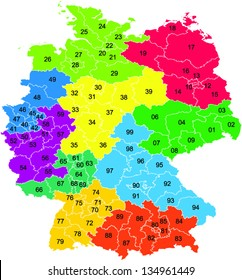 A colored vector map with two digit postal codes of Germany
