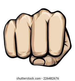 Colored vector of a punching hand with a clenched fist aimed directly at the viewer  isolated on white