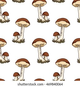 Colored vector seamless pattern with edible mushrooms.
