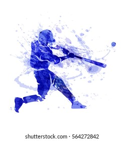 Colored vector silhouette of a baseball player