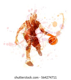Colored vector silhouette of basketball player with ball