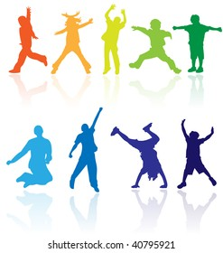 Colored vector silhouettes of group of children, kids dancing, playing sport games, jumping