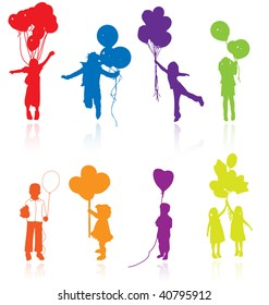 Colored vector silhouettes of kids, children playing, jumping, having party with balloons.