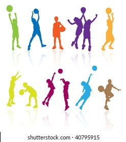 Colored vector silhouettes of kids, teens, children playing basketball sport game