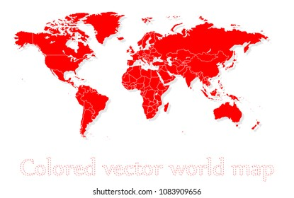 Colored vector world map illustration isolated over white background. Flat globe, earth template. World map icons isolated set. Silhouette, traveling outline shapes