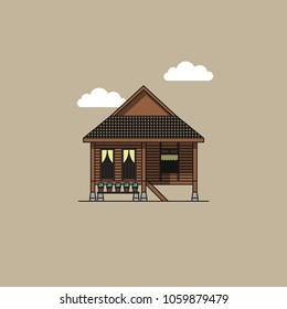 Colored version of Rumah Kampong (Malaysian Traditional House)