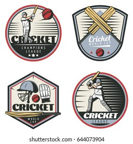 Colored vintage cricket sport emblems set with sportsmen crossed bats balls cap and glove isolated vector illustration