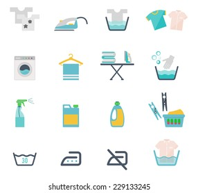 Colored Washing Icons and Laundry Symbols in flat style on white background
