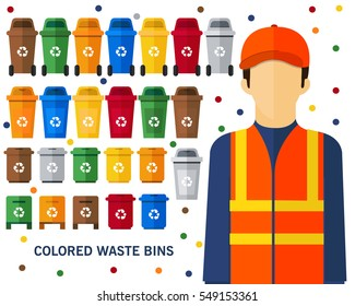 colored waste bins concept background. Flat icons.