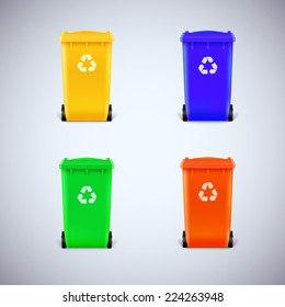 Colored waste bins with the lid closed. Ecological trash set, isolated