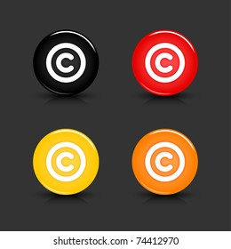 Colored web 2.0 button with copyright sign. Round shapes with reflection and shadow on gray background. 10 eps