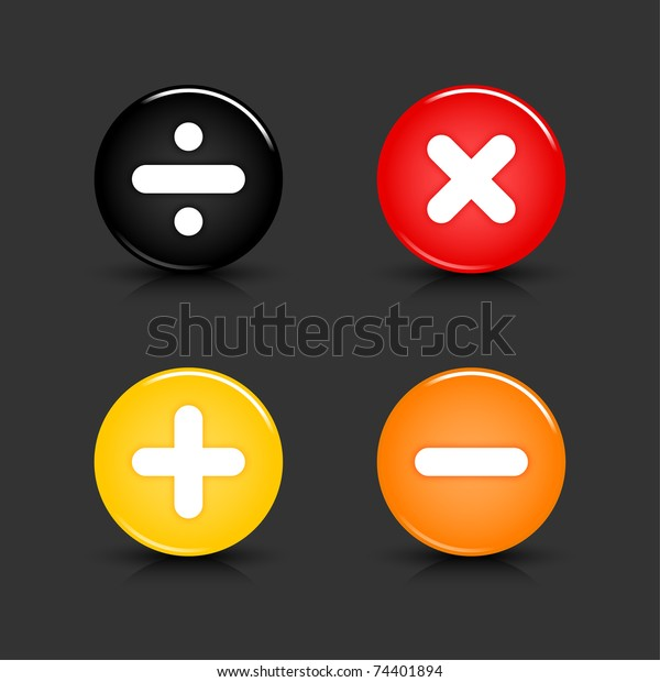 Colored web 2.0 button with math symbols. Round shapes with reflection and shadow on gray background. 10 eps