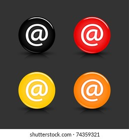Colored web 2.0 button with at sign. Round shapes with reflection and shadow on gray background. 10 eps