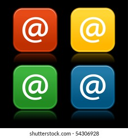 Colored web 2.0 buttons with at symbol. Rounded square shapes with reflection on black background