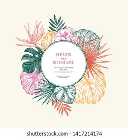 Colored wedding invitation with exotic flowers and leaves. Card design template. Vector illustration