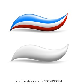Colored and white toothpaste, vector banner