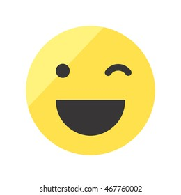 Colored wink smile vector icon. Emoji smiles