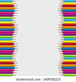 Colored Wooden Pencils Border Frame - Vector Illustration - Isolated On Transparent Background