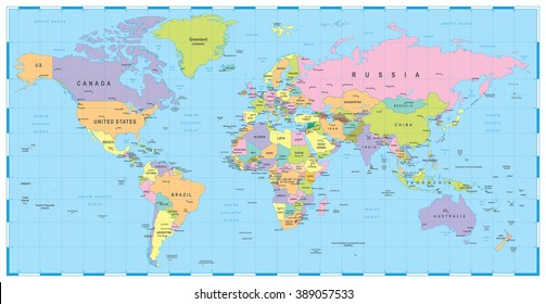Colored World Map - borders, countries and cities - illustration  Image contains next layers: - land contours - country and land names - city names - water object names