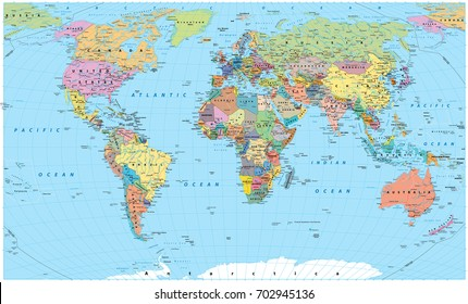 Colored World Map - borders, countries, roads and cities. Detailed World Map vector illustration.