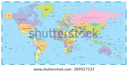 Colored World Map Borders Countries Cities Stock Vector Royalty