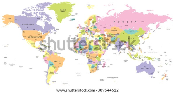 Colored World Map Borders Countries Cities Stock ...