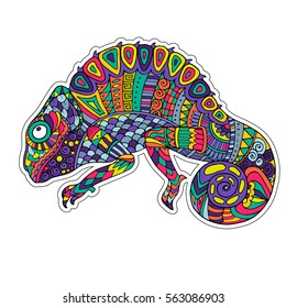 Colored zentangle chameleon. Doodle exotic wild animal. Abstract lizzard. Vector image of reptile isolated on white background