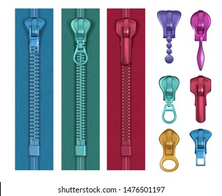 Colored zipper. Fashioned locks and buckles handback bungee puller vector realistic pictures. Illustration of lock zipper, fashion metal buckle