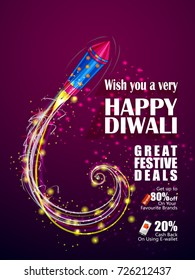 Colorfu Firecracker on Happy Diwali night celebrating holiday of India festive deal promotion background. Vector illustration