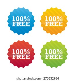 Colorful 100 Percent Free Star Labels