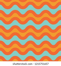 Colorful 1970's pop art seamless stylized wave pattern in yellow, orange and turquoise. Fun throwback beachy vector repeat. Has a California surf feel, and great for party invitations and textiles.