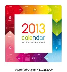 colorful 2013 calendar, square shape. vector illustration