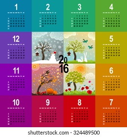 colorful 2016 calendar - week starts with sunday - with four seasons illustration featuring a tree, birdhouse, birds, pumpkins and snowman